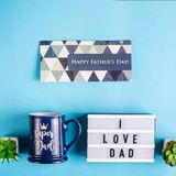 Festive layout of father`s day on a blue background royalty free stock photos