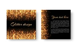Festive leaflet with glitter. Greeting card with golden shine and bright yellow rays for New Year`s decoration of congratulations Stock Photo