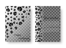 Festive leaflet with pumpkins for Halloween. Template greeting card with silhouettes of evil pumpkins for festive halloween design Royalty Free Stock Images