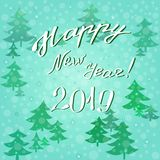 2019 happy new year - a congratulatory inscription on a winter background stock images