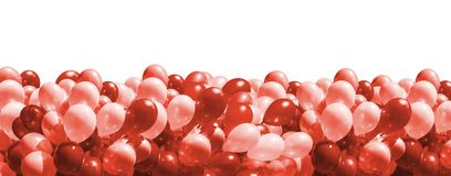 Balloons in trendy living coral color stock photo