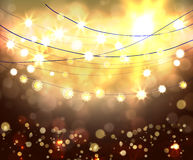 Festive light background with bokeh and stars. Vector Royalty Free Stock Photography
