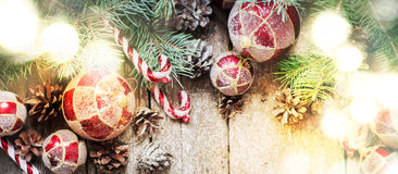 Festive Light with Christmas Vintage Fir Tree Toys Royalty Free Stock Photography