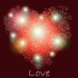 Festive light fireworks in form of heart. On dark burgundy background with lights Royalty Free Stock Photography