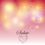 Festive light fireworks. On light purple background with sign and heart. Stylish logo and salute Stock Photography