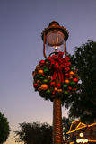 Festive lightpost decorated for Christmas at Disneyland Stock Image