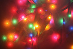 Festive lights. Festive mini lights through frosted glass, not an effect Royalty Free Stock Images