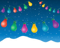 Festive lights. An illustration of colorful festive lights under a dark snowy sky in winter Stock Image
