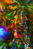 Festive lights abstract palm trees. An abstract rendition of palm trees with festive lights and bright colors Royalty Free Stock Photo