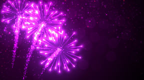 Festive lilac firework background. Vector illustration Royalty Free Stock Photography