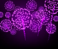 Festive lilac firework background. Vector illustration Royalty Free Stock Images