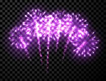 Festive lilac firework background. Vector illustration Royalty Free Stock Photo