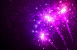 Festive lilac firework background. Vector illustration.r Royalty Free Stock Photos