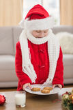 Festive little boy holding plate of cookies Royalty Free Stock Image