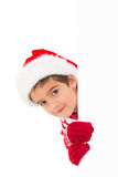 Festive little boy showing a card Royalty Free Stock Photos