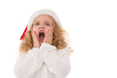 Festive little girl with hands on face Stock Image