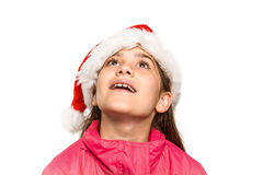 Festive little girl looking surprised Royalty Free Stock Image
