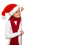 Festive little girl showing card Stock Image