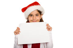 Festive little girl showing card Royalty Free Stock Photo