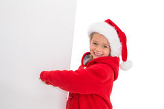Festive little girl showing poster Stock Image