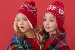 Festive little girls under a blanket Royalty Free Stock Photo