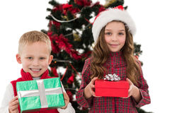 Festive little siblings smiling at camera holding gifts Royalty Free Stock Photography