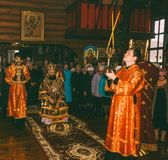 A festive liturgy in an Orthodox church with the participation of the Archbishop. Adygea, Russia - November 8, 2017: a festive liturgy in an Orthodox church with Stock Photos