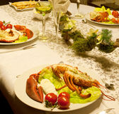 Festive lobster dinner Royalty Free Stock Photos