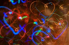 Festive long exposure lights background with hearts. St. Valentine day. Differen heartshapes royalty free stock photos