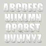 Festive luxury alphabet letters with glamour golden glitter confetti Royalty Free Stock Photos