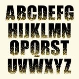 Festive luxury alphabet letters with glamour golden glitter confetti. For your decoration royalty free illustration