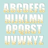 Festive luxury alphabet letters with glamour golden glitter confetti. For your decoration Stock Images