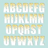 Festive luxury alphabet letters with glamour golden glitter confetti Royalty Free Stock Image