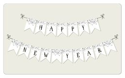 Festive luxury banner Happy New Year with glamour golden glitter confetti. Festive luxury banner Happy New Year as bunting flags with glamour golden glitter Royalty Free Stock Photo