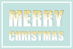 Festive luxury banner Merry Christmas with glamour golden glitter confetti Stock Images