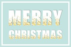 Festive luxury banner Merry Christmas with glamour golden glitter confetti Stock Photos