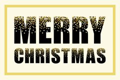 Festive luxury banner Merry Christmas with glamour golden glitter confetti Royalty Free Stock Images