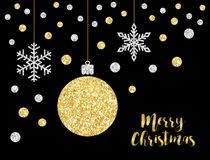 Festive luxury banner Merry Christmas with glamour golden glitter confetti Stock Photo