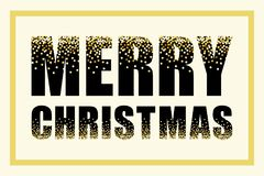 Festive luxury banner Merry Christmas with glamour golden glitter confetti Royalty Free Stock Photography