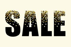 Festive luxury banner SALE with glamour golden glitter confetti. For your decoration Stock Photo