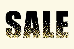 Festive luxury banner SALE with glamour golden glitter confetti. For your decoration Stock Image