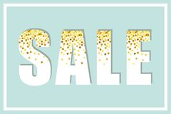 Festive luxury banner SALE with glamour golden glitter confetti. For your decoration Royalty Free Stock Photo