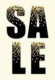 Festive luxury banner SALE with glamour golden glitter confetti. For your decoration Stock Photos