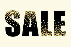 Festive luxury banner SALE with glamour golden glitter confetti. For your decoration Royalty Free Stock Photos