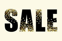 Festive luxury banner SALE with glamour golden glitter confetti. For your decoration Stock Photography
