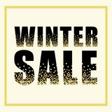 Festive luxury banner WINTER SALE with glamour golden glitter confetti. For your decoration Royalty Free Stock Images