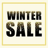 Festive luxury banner WINTER SALE with glamour golden glitter confetti. For your decoration Stock Images