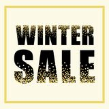Festive luxury banner WINTER SALE with glamour golden glitter confetti. For your decoration Stock Photo