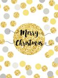 Festive luxury card Merry Christmas with glamour golden glitter confetti Royalty Free Stock Image