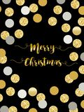 Festive luxury card Merry Christmas with glamour golden glitter confetti Royalty Free Stock Photos
